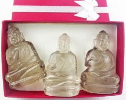 Three gemstone buddhas in gift box BU 522