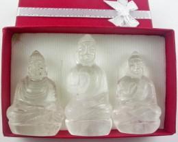 Three gemstone buddhas in gift box BU 524