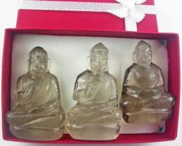 Three gemstone buddhas in gift box BU 525