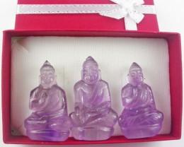 Three gemstone buddhas in gift box BU 526