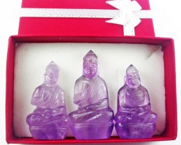 Three gemstone buddhas in gift box BU 529