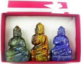 Three gemstone buddhas in gift box BU 531
