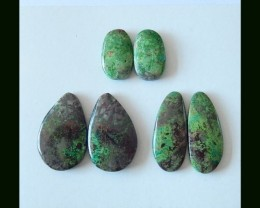 3 Pairs Chrysocolla Cabochons,88 Cts