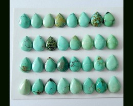 32 PCS Natural Turquoise Cabochons,9x6MM