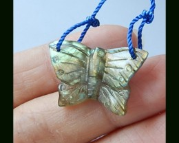 Smart Labradorite Butterfly Carving Bead Top Drilled,13.95 Cts