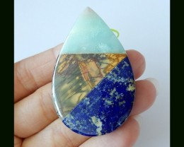 Natural Picasso Jasper,Amazonite,Lapis Lazuli Intarsia Pendant Bead(B180425