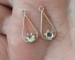 2 - STERLING SILVER DANGLING 5 MM ROUND EARRINGS CASTINGS FINDING