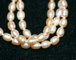 3 STRANDS PEACH FRESH WATER PEARL BEADS - 181 CARATS