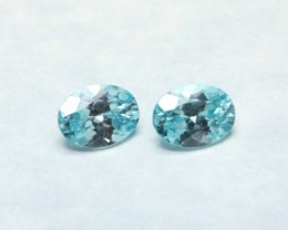 GEM BLUE ZIRCON OVAL PAIR