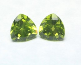 LARGE TRILLION PERIDOT PAIR