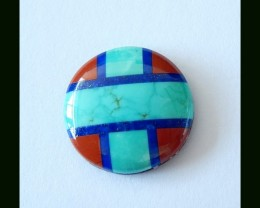 8cts Turquoise,Red River Jasper,Lapis Lazuli Intarsia Cabochon