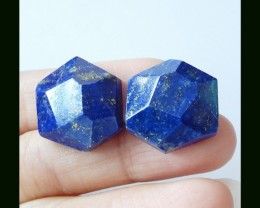 58.25cts Faceted Lapis Lazuli Cabochons