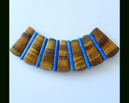 Tiger Eye,Lapis lazuli Cabochons Set For Necklace Design,184cts