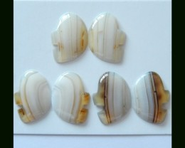 3 Pairs Natural Agate Abstract Elephant Cabochons
