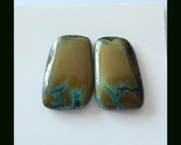 P0370  - 18.65 Cts Natural Turquoise Gemstone Cabochon Pair