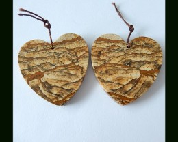 115 cts Natural  Heart Shaped Picture Jasper Gemstone Earring Beads