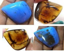 Blue Amber Cabochons