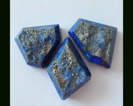 3 pcs Natural Lapis Lazuli Cabochons