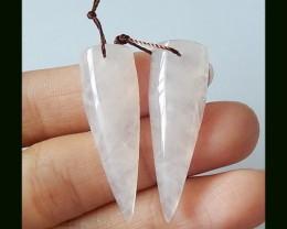 30CTS Rose Qaurtz Earring Beads