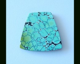 28.5 cts Turquoise,Obsidian Intarsia Cabochon