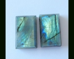 Pair Cabochon Labradroite Gemstone Cab,44.15 cts