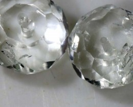 4.5 CTS NATURAL CRYSTAL QUARTZ BEADS (2 PCS) LG-1326