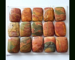 15 pcs Natural Multi Color Picasso jasper Cabochons Parcel