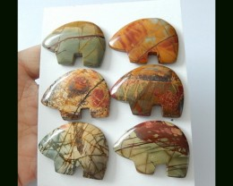 6 PCS Multi Color Picasso Jasper Abstract Elephant Carving ,Wholesale Jewel