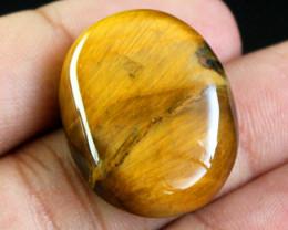 Genuine 47.00 Cts Oval Shaped Golden Tiger Eye Gemstone