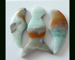 67 Ct Natural Bi Color Amazonite Bird Shape Cabochon Set