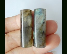 57 ct Natural Labradorite Cabochon Pair