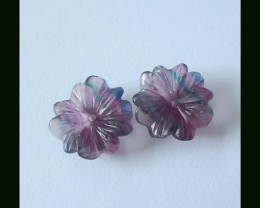 16.5Ct Rainbow Fluorite Gemstone Flower Pair