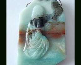 281.5 Ct Precious Gift Amazonite Gemstone Carved Pendant