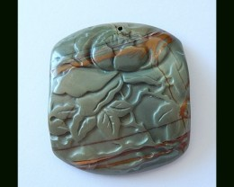 113.5 CT Natural Multi Color Picasso Jasper Flower Carving Pendant Bead