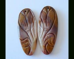 55 ct Flower Carving Mookaite Jasper Earring Beads,Hancraft Gemstone Art