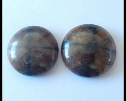 2 PCS Natural Andalusite Cabochons ,39.5 ct