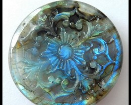 123 Ct Exquoisite Flower Carving Labradorite Gemstone Bead Luxurious Gemsto