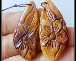 36.15 ct Gemstone Mookaite Jasper Flower Earring Beads