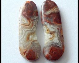 29 ct Natural Laguna Agate Cabochon Pair(C0068)