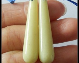 43.4 Ct Natural Teardrop Lemon Jade Earring Beads Pair