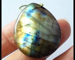 49.15 Ct Blue And God Natural Labradorite Gemstone Pendant Bead