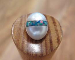Australian South Sea Pearl with Opal Inlay