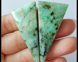 61.8 Ct Chrysocolla Gemstone Triangle Pair