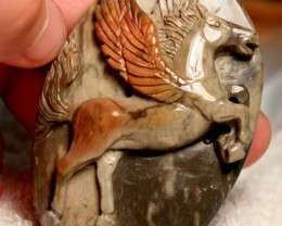 302 Carat Pegasus Luck Charm Horse Carving - 77mm