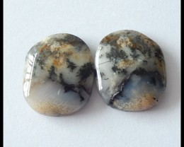 25 Ct Natural Dendritic Agate Gemstone Cabochon Pair