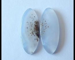 15.5CT Blue Lace Agate Gemstone Cabochon Pair   (C0021)