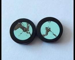 Turquoise,Obdiain Intarsia Gemstone Pair,Cabochon,13.25ct