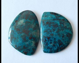 2 pcs Natural Chrysocolla Gemstone Cabochons,40.65cts