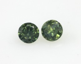 1.20cts  Matching Pair Natural Round Blue/Green Parti Sapphires 2pcs Beauti
