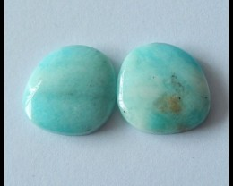 20.6 cts Natural Amazonite Cabochon Pair(C0061)